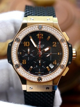Hublot BigBang Rose Gold Bezel Diamonds Option New 98%