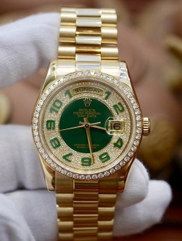 Rolex Day-Date 118348 Green Dial Full Diamonds New 98%