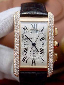 Cartier Tank Americaine Chronograph Rose Gold New 98%