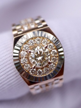 NHẪN ROLEX 18K SOLID GOLD ROSE&WHITE MADE HONGKONG
