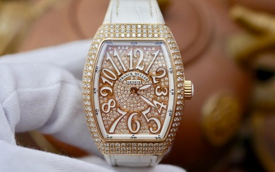 Franck Muller Vanguard V32 QZ Full Diamonds Option New 99% Fullset 2019
