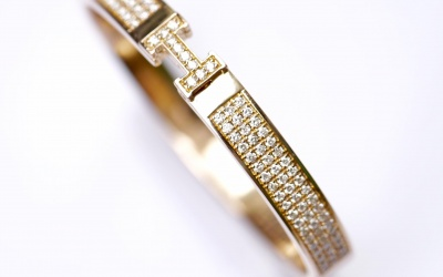 VÒNG TAY HERMES 18K/750 SOLID GOLD ROSE DIAMOND OPTION HONGKONG