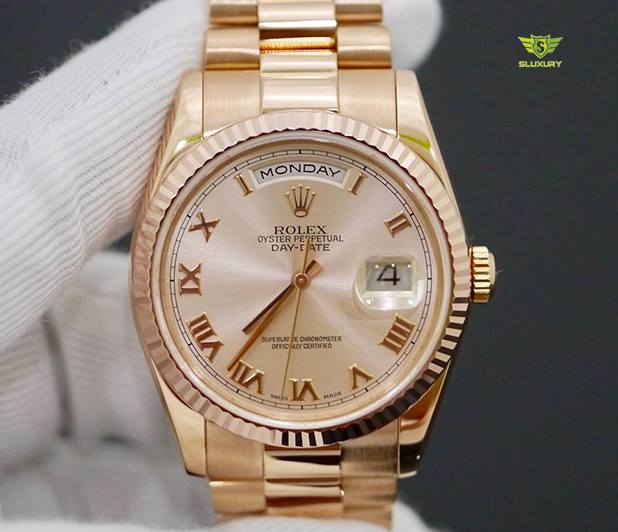 Rolex Day-Date 118235 Mặt Tia Hồng New 98%
