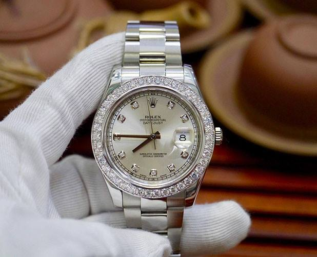 Rolex Datejust II 116334 Tia Bạc Bezel Diamond Option New 98%