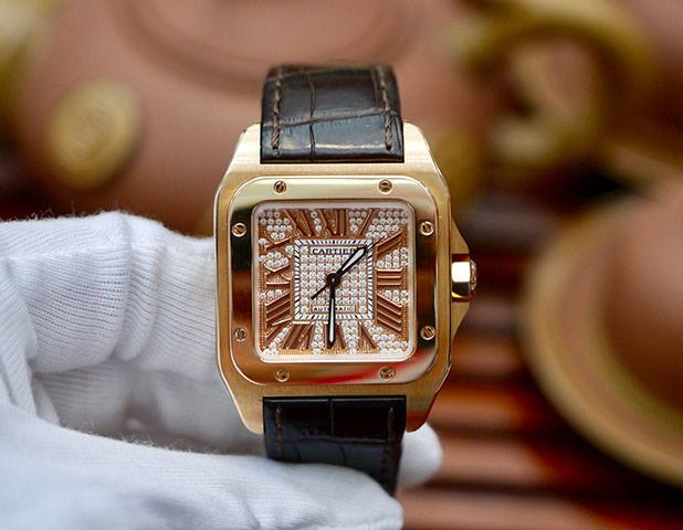 Cartier Santos 100 18K Rose Gold Dial Diamond Option New 98%