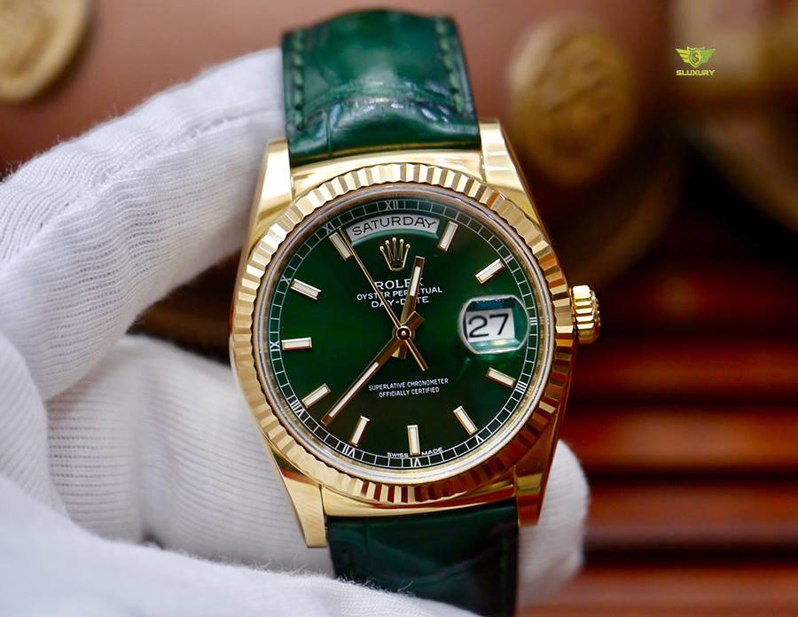 Rolex Day-Date 118138 Mặt Xanh Lá New 99% Fullbox 2014