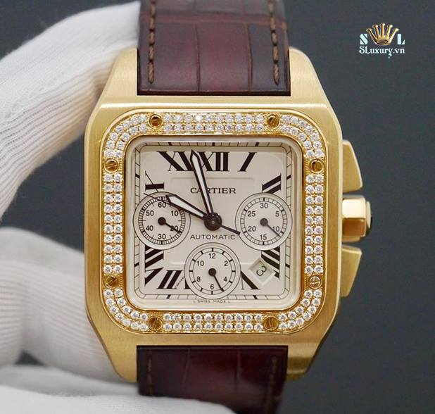 Cartier Santos 100 18K Solid Gold Chronograph New 98%