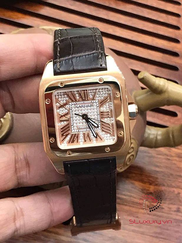 Cartier Santos 100 Rose Gold Diamond Option New 98%
